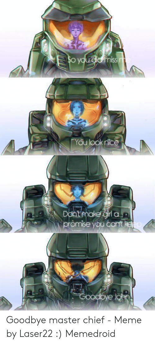 You Look Nice Doat Make Goodbye Master Chief Meme By
