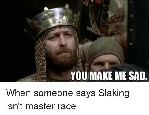 You Make Me Sad When Someone Says Slaking Isnt Master Race Meme