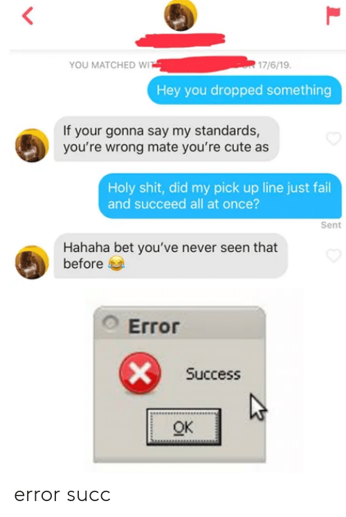 You Matched Wi 17619 Hey You Dropped Something If Your Gonna Say My Standards You Re Wrong Mate You Re Cute As Holy Shit Did My Pick Up Line Just Fail And Succeed All
