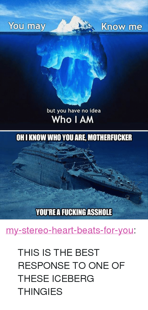 """Fucking, Tumblr, and Beats: You may  Know me  but you have no idea  Who I AM  OHI KNOW WHO YOU ARE, MOTHERFUCKER  YOU'REA FUCKING ASSHOLE <p><a class=""""tumblr_blog"""" href=""""http://my-stereo-heart-beats-for-you.tumblr.com/post/47050039068/this-is-the-best-response-to-one-of-these-iceberg"""">my-stereo-heart-beats-for-you</a>:</p><blockquote> <p>THIS IS THE BEST RESPONSE TO ONE OF THESE ICEBERG THINGIES</p> </blockquote>"""