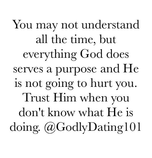 Memes, 🤖, and Him: You may not understand  all the time, but  everything God does  serves a purpose and He  is not going to hurt you.  Trust Him when you  don't know what He is  doing, a GodlyDating 01