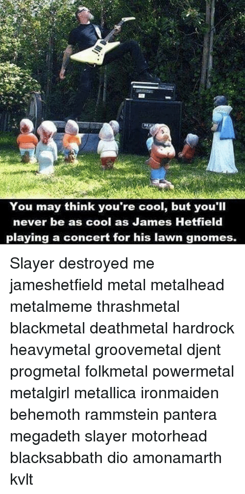 Megadeth, Memes, and Metallica: You may think you're cool, but you'll  never be as cool as James Hetfield  playing a concert for his lawn gnomes. Slayer destroyed me jameshetfield metal metalhead metalmeme thrashmetal blackmetal deathmetal hardrock heavymetal groovemetal djent progmetal folkmetal powermetal metalgirl metallica ironmaiden behemoth rammstein pantera megadeth slayer motorhead blacksabbath dio amonamarth kvlt