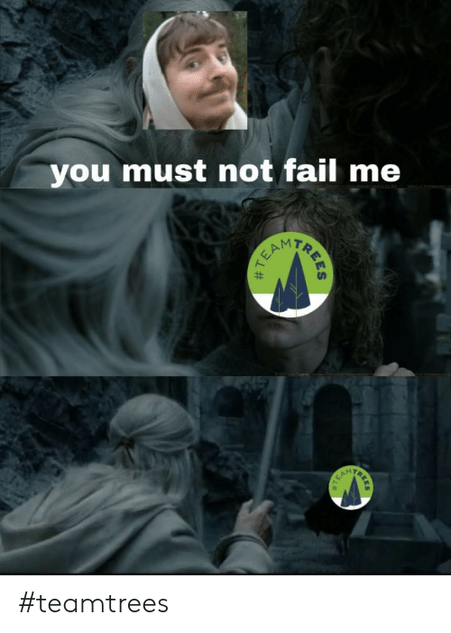 Fail, Trees, and Dank Memes: you must not fail me  EAM  TREES  # T #teamtrees