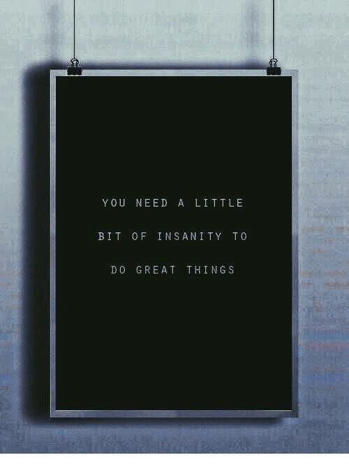 Insanity, You, and Great: YOU NEED A LITTLE  BIT OF INSANITY TO  DO GREAT THINGS