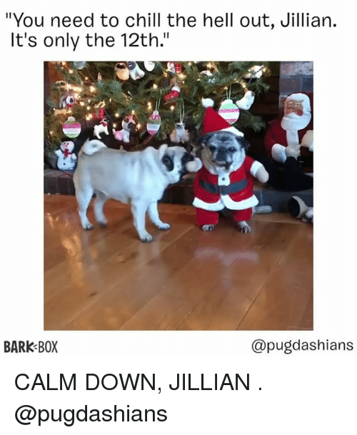 "Chill, Memes, and Hell: ""You need to chill the hell out, Jillian.  It's only the 12th.""  10  BARK BOX  @pugdashians CALM DOWN, JILLIAN . @pugdashians"