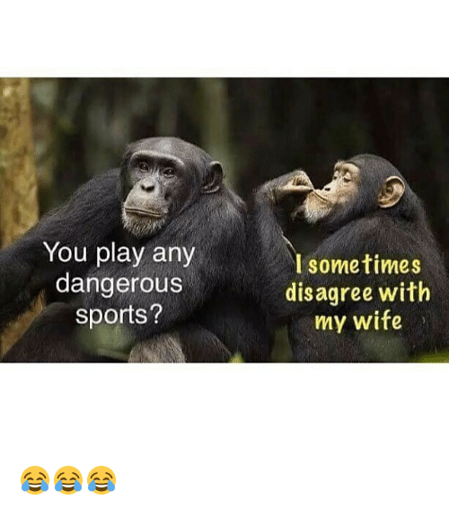 Gym, Sports, and Wife: You play any  dangerous  sports?  I sometimes  disagree with  my wife 😂😂😂