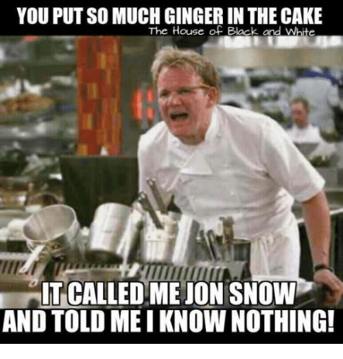 Memes, Black, and Cake: YOU PUT SO MUCH GINGER IN THE CAKE  The House of Black and Whte  IT CALLEDMEJON SNOW  AND TOLD MEI KNOWNOTHING!