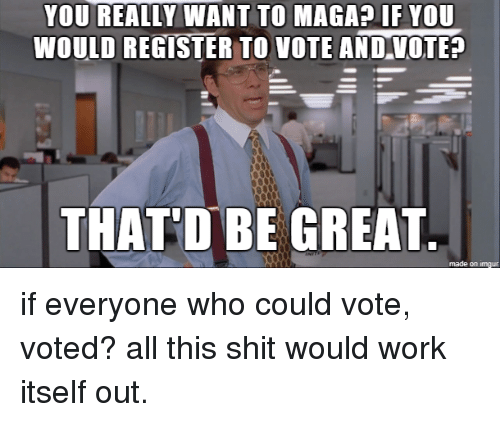 Shit, Work, and Imgur: YOU REALLY WANT TO MAGA? IF YOU  WOULD REGISTER TO VOTE ANDVOTE  THATD BE GREAT  made on imgur if everyone who could vote, voted? all this shit would work itself out.