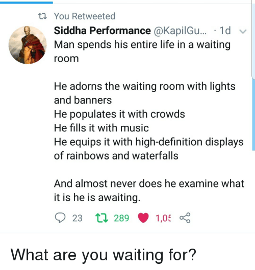 Life, Music, and Definition: You Retweeted  Siddha Performance @KapilGu... '1d v  Man spends his entire life in a waiting  room  He adorns the waiting room with lights  and banners  He populates it with crowds  He fills it with music  He equips it with high-definition displays  of rainbows and waterfalls  And almost never does he examine what  it is he is awaiting  23 tl 289  1,05 What are you waiting for?
