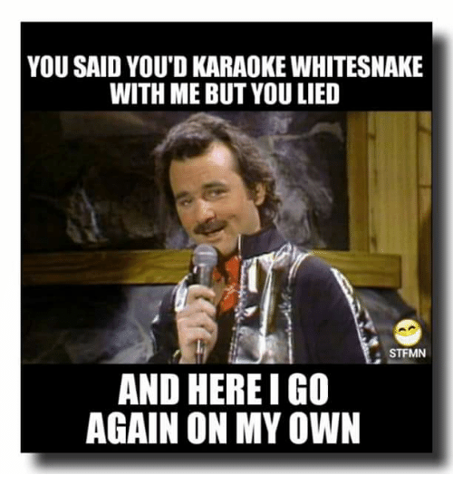 Funny Karaoke Memes : Best memes about here i go again on my own