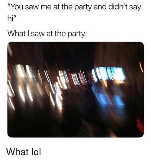 """Lol, Memes, and Party: """"You saw me at the party and didn't say  hi""""  What l saw at the party: What lol"""