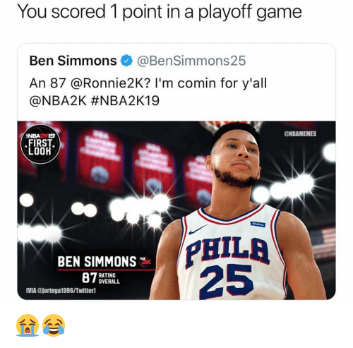03acbe1dbb8 You Scored 1 Point in a Playoff Game Ben Simmons an 87 I'm Comin for ...