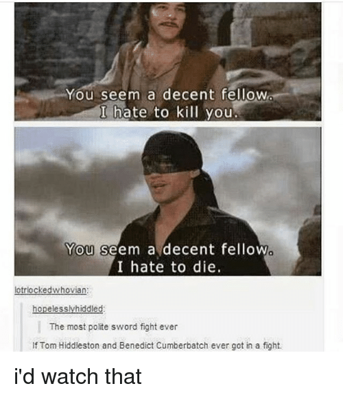 Memes, Watch, and Sword: You seem a decent fellow  I hate to kill you  You seem a decent fellow  I hate to die.  0  lotrlockedwhovian:  The most polite sword fight ever  If Tom Hiddleston and Benedict Cumberbatch ever got in a fight. i'd watch that