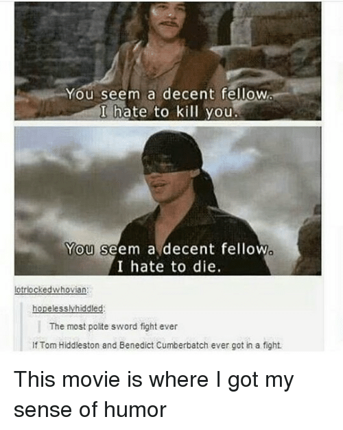Memes, Movie, and Sword: You seem a decent fellow  I hate to kill you  You  You seem a decent fellow  I hate to die.  The most polite sword fight ever  If Tom Hiddleston and Benedict Cumberbatch ever got in a fight. This movie is where I got my sense of humor