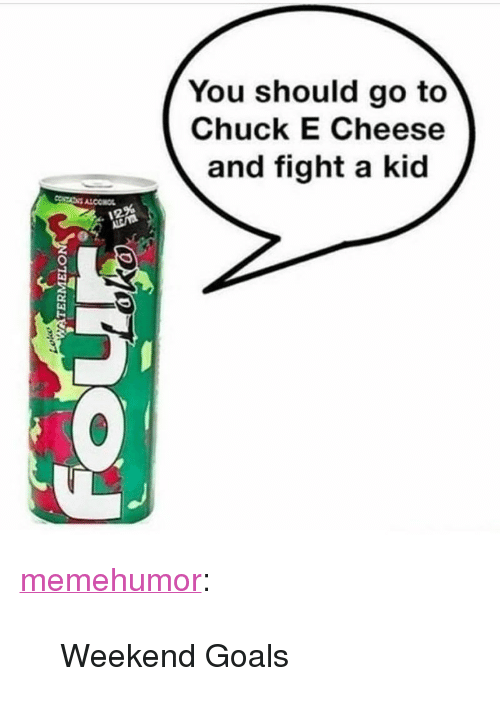 "Chuck E Cheese, Goals, and Tumblr: You should go to  Chuck E Cheese  and fight a kid  12% <p><a href=""http://memehumor.net/post/166653699393/weekend-goals"" class=""tumblr_blog"">memehumor</a>:</p>  <blockquote><p>Weekend Goals</p></blockquote>"