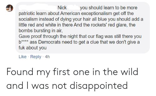 Ass, Disappointed, and American: you should learn to be more  Nick  patriotic learn about American exceptionalism get off the  socialism instead of dying your hair all blue you should add a  little red and white in there And the rockets' red glare, the  bombs bursting in air,  Gave proof through the night that our flag was still there you  b**** ass Democrats need to get a clue that we don't give a  fuk about you  Like Reply 4h Found my first one in the wild and I was not disappointed