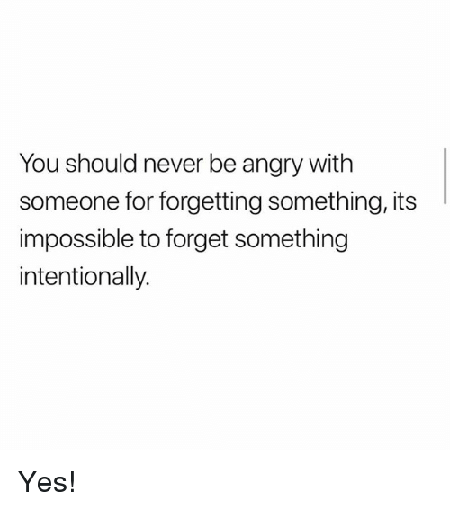 Memes, Angry, and Never: You should never be angry with  someone for forgetting something, its  impossible to forget something  intentionally. Yes!