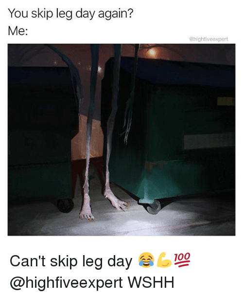 Memes, Wshh, and Leg Day: You skip leg day again?  Me:  @highfiveexpert Can't skip leg day 😂💪💯 @highfiveexpert WSHH