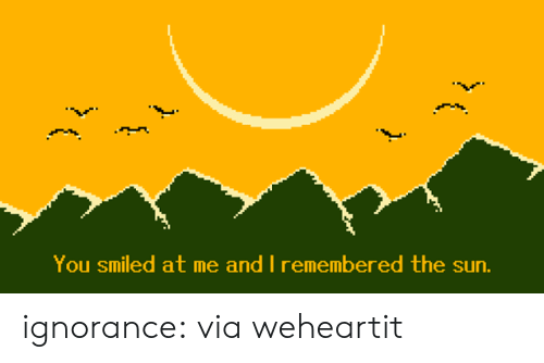 Target, Tumblr, and Blog: You smiled at me and I remembered the sun.  ( ignorance:  via weheartit