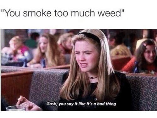 "Bad, Memes, and Too Much: ""You smoke too much weed""  Gosh, you say it like it's a bad thing"