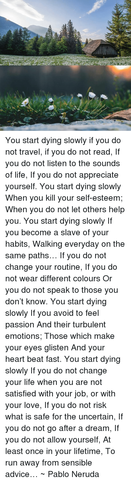You start dying slowly if you do not travel if you do not read if a dream memes and pablo neruda you start dying slowly if you do publicscrutiny Choice Image