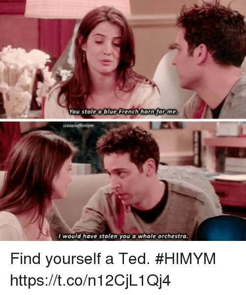 Memes, Ted, and Blue: You stole a blue French horn for me  would have stolen you a whole orchestra Find yourself a Ted. #HIMYM https://t.co/n12CjL1Qj4