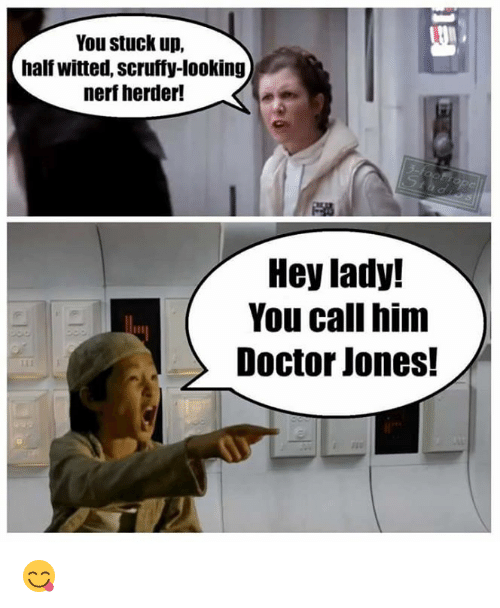 Doctor, Memes, and Ups: You stuck up,  half witted, scruffy-looking  nerf herder!  Hey lady!  You call him  Doctor Jones! 😋