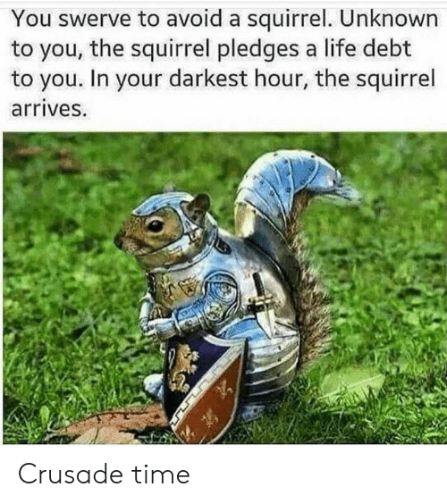 Life, Squirrel, and Time: You swerve to avoid a squirrel. Unknown  to you, the squirrel pledges a life debt  to you. In your darkest hour, the squirrel  arrives. Crusade time