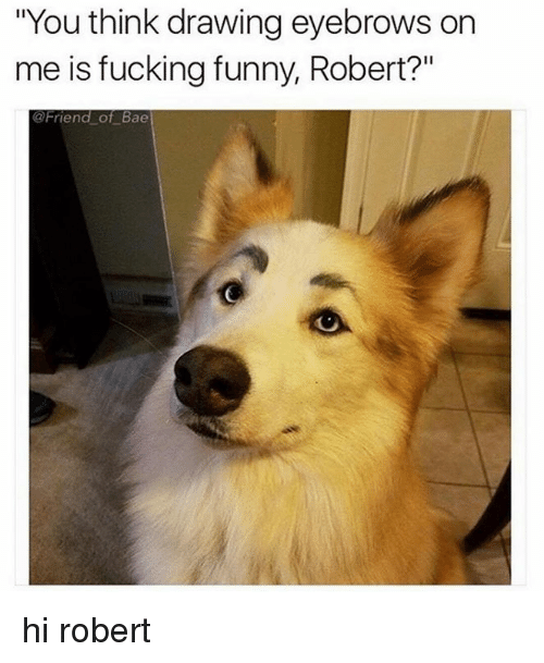 """Bae, Fucking, and Funny: """"You think drawing eyebrows on  me is fucking funny, Robert?""""  @Friend of Bae hi robert"""