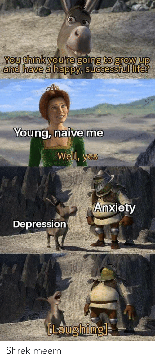 Life, Shrek, and Anxiety: You think you're going to grow up  and have a happy, successful life?  Young, naive me  Well, yes  Anxiety  Depression  ELaughing Shrek meem