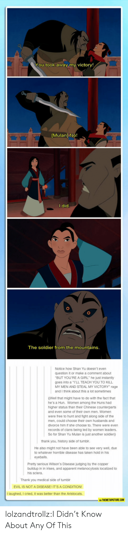 "Mulan, Taken, and Tumblr: You took away my victory!  [Mulan] No!  I did  The soldier from the mountains.  Notice how Shan Yu doesn't even  question it or make a comment about  ""BUT YOU'REA GIRL"" he just instantly  goes into a ""I'LL TEACH YOU TO KILL  MY MEN AND STEAL MY VICTORY"" rage  and I think about this a lot sometimes  ((Well that might have to do with the fact that  he's a Hun. Women among the Huns had  higher status than their Chinese counterparts  and even some of their own men. Women  were free to hunt and fight along side of the  men, could choose their own husbands and  divorce him if she choose to. There were even  records of clans being led by women leaders.  So for Shan Yu Mulan is just another soldier))  thank you, history side of tumblr.  He also might not have been able to see very well, due  to whatever horrible disease has taken hold in his  eyeballs.  Pretty serious Wilson's Disease judging by the copper  buildup in in irises, and apparent melanocytosis localized to  his sclera.  Thank you medical side of tumblr  EVIL IS NOT A DISEASE! IT'S A CONDITION!  I laughed, I cried, it was better than the Aristocats.  WA THEMETAPICTURE.COM lolzandtrollz:I Didn't Know About Any Of This"