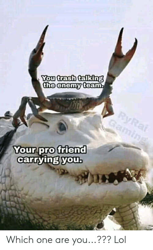 Lol, Trash, and Pro: You trash talking  the enemy team  our pro friend  carrying youb Which one are you...??? Lol