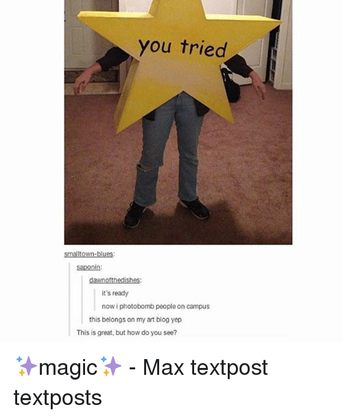 Memes, Photobomb, and Blog: you tried  smalltown-blues  saponin:  dawnofthedishes:  it's ready  now i photobomb people on campus  this belongs on my art blog yep  This is great, but how do you see? ✨magic✨ - Max textpost textposts