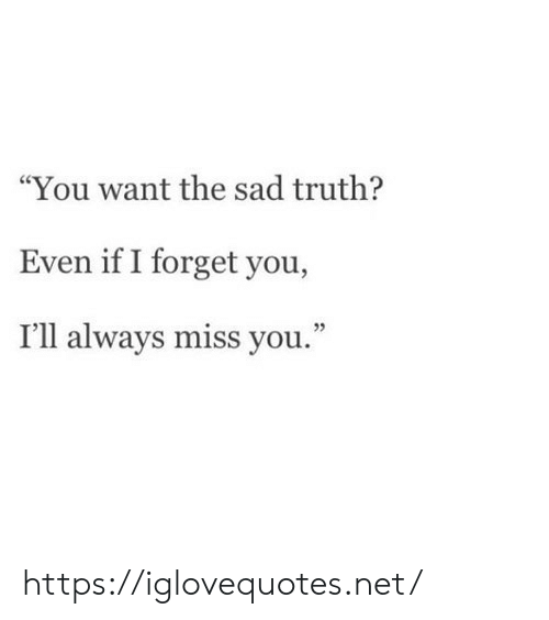 """Sad, Truth, and Net: """"You want the sad truth?  Even if I forget you,  I'll always miss you.""""  2 https://iglovequotes.net/"""
