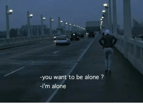 Being Alone, You, and  Want: you want to be alone?  -i'm alone