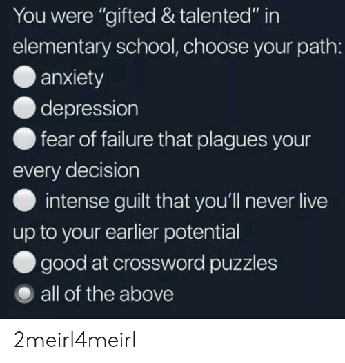 Elementary Students With Depression >> You Were Gifted Talented In Elementary School Choose Your Path