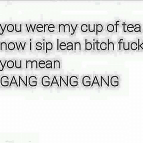 You Were My Cup Of Tea Now I Sip Lean Bitch Fuck You Mean Gang Gang