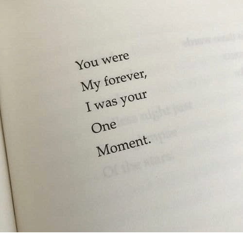 Forever, One, and Moment: You were  My forever,  I was your  One  Moment.