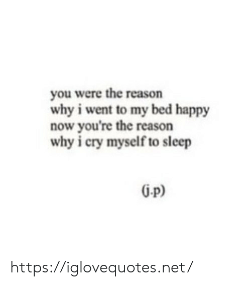 Happy, Reason, and Sleep: you were the reason  why i went to my bed happy  now you're the reason  why i cry myself to sleep https://iglovequotes.net/