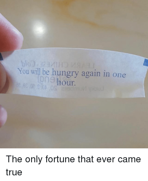 Funny, Hungry, and True: You will be hungry again in one  ne hour The only fortune that ever came true