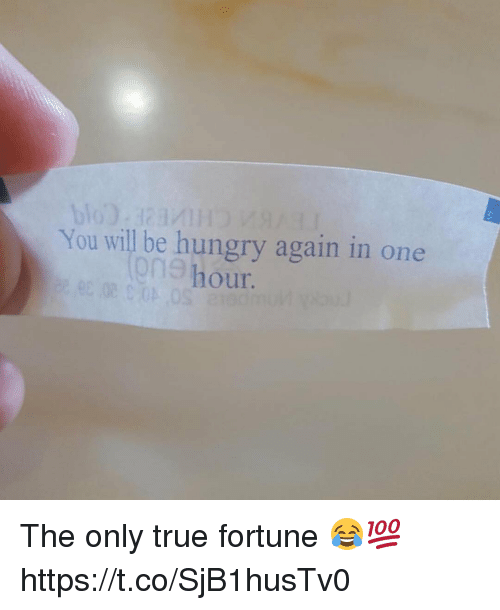 Hungry, True, and One: You will be hungry again in one  our.  9n9 h The only true fortune 😂💯 https://t.co/SjB1husTv0