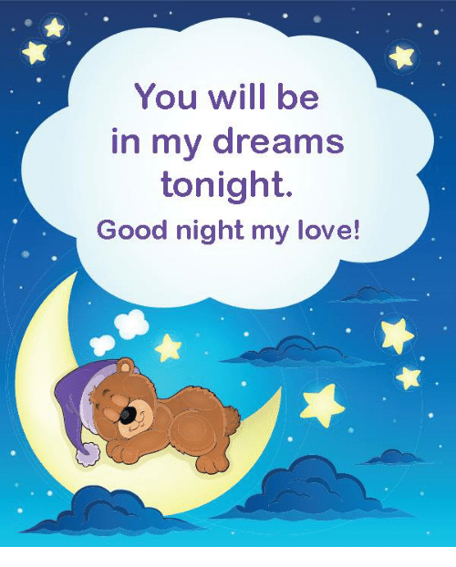 You Will Be In My Dreams Tonight Good Night My Love Love Meme On