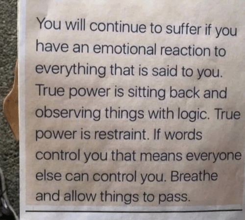 Logic, True, and Control: You will continue to suffer if you  have an emotional reaction to  everything that is said to you.  True power is sitting back and  observing things with logic. True  power is restraint. If words  control you that means everyone  else can control you. Breathe  and allow things to pass.