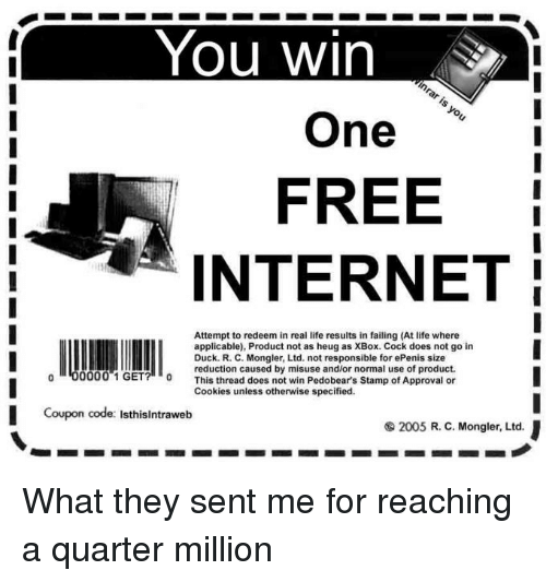 You Win Inrar Is You One FREE INTERNET Attempt to Redeem in