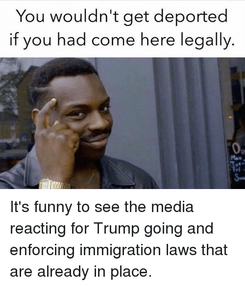Memes, 🤖, and  Come Here: You wouldn't get deported  if you had come here legally It's funny to see the media reacting for Trump going and enforcing immigration laws that are already in place.