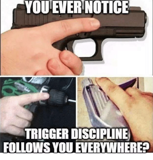 Memes, 🤖, and Trigger: YOUEVER NOTICE  TRIGGER DISCIPLINE  FOLLOWS YOU EVERYWHERE?