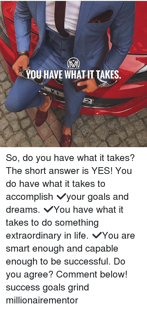 Goals, Life, and Memes: YOUHAVE WHATIT TAKES  2 So, do you have what it takes? The short answer is YES! You do have what it takes to accomplish ✔️your goals and dreams. ✔️You have what it takes to do something extraordinary in life. ✔️You are smart enough and capable enough to be successful. Do you agree? Comment below! success goals grind millionairementor