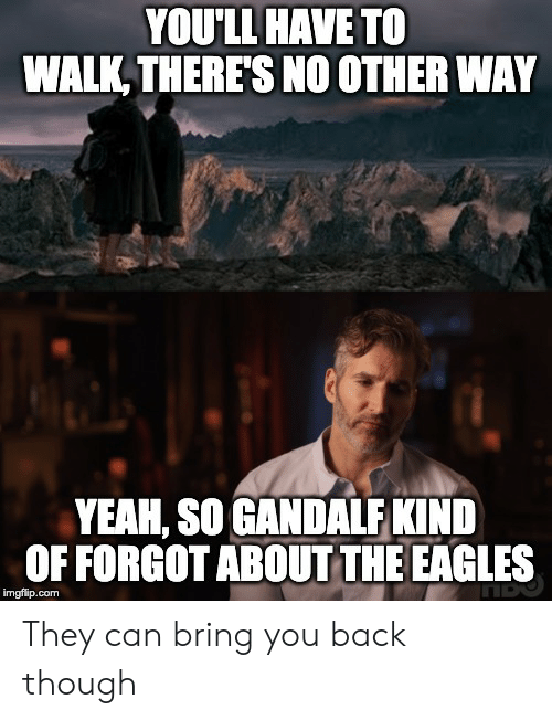Philadelphia Eagles, Gandalf, and Yeah: YOU'LL HAVE TO  WALK, THERES NO OTHER WAY  YEAH, SO GANDALF KIND  OF FORGOTABOUT THE EAGLES  imgflip.com They can bring you back though