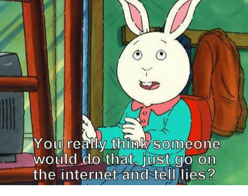 Internet, The Internet, and Think: Youlreally think someone  would do that, just go on  the internet and tell lies?  SO