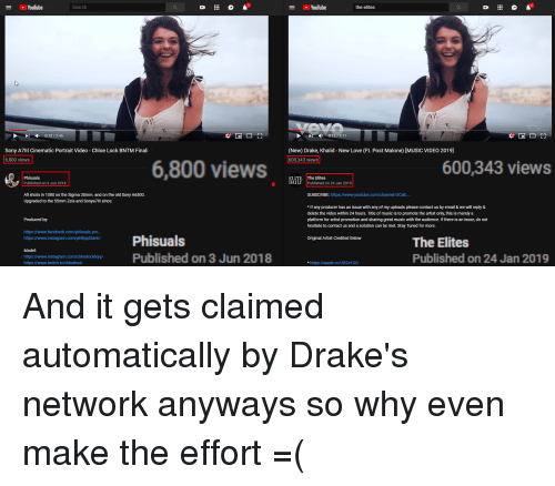 Apple, Drake, and Facebook: Youlube  Search  YouTube  the elites  0:12/2:46  Sony A711 Cinematic Portrait Video-Chloe Lock BNTM Finali  6,800 views  (New) Drake, Khalid - New Love (Ft. Post Malone) [MUSIC VIDEO 2019]  600,343 views  6,800 views  600,343 views  Phisuals  Published on 3 Jun 2018  DATE|The  24Jan2019|  DAILY  Published on 24 Jan 2019  All shots in 1080 on the Sigma 30mm. and on the old Sony A6500  Upgraded to the 55mm Zeis and Sonya7lll since.  SUBSCRIBE: https://www.youtube.com/channel/UCalL..  *If any producer has an issue with any of my uploads please contact us by email & we will reply &  delete the  platform for artist promotion and sharing great music with the audience. If there is an issue, do not  hesitate to contact us and a solution can be met. Stay Tuned for more  video within 24 hours. Title of music is to promote the artist only, this is merely a  Produced by  https://www.facebook.com/phisuals.pro..  https://www.instagram.com/philippblank/  Phisuals  Original Artist Credited Below  Model:  https://www.instagram.com/chloelockleyy/  https://www.twitch.tv/chloelock  The Elites  Published on 24 Jan 2019  wwiwtanonublished on 3 Jun 2018  * https://apple.co/2B2e1GO